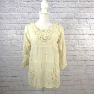 Johnny Was Cream Embroidered Tunic Blouse
